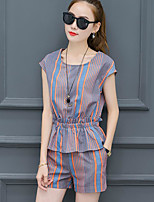 Women's Casual/Daily Simple Summer Blouse Pant Suits,Striped Round Neck Short Sleeve Micro-elastic