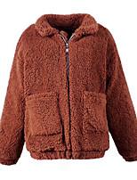 Для женщин На каждый день Осень Зима Пальто с мехом Воротник шалевого типа,Простой Однотонный Обычная Длинный рукав,Шерсть