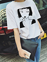 Women's Going out Simple Street chic Summer T-shirt,Print Round Neck Short Sleeves Cotton Opaque