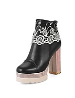 Damen Schuhe Kunstleder Herbst Winter Modische Stiefel Springerstiefel Stiefel Blockabsatz Runde Zehe Applikation Für Normal Party &