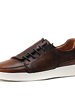 cheap -Men's Shoes Real Leather Cowhide Spring Fall Comfort Sneakers For Casual Wine Brown Gray