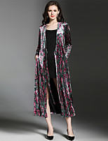 SUOQI Women's Going out Casual/Daily Simple Fall Winter Trench Coat,Print V Neck Long Sleeve Long Polyester Nylon