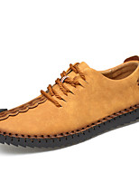 Men's Shoes Leather Summer Fall Comfort Light Soles Sneakers Lace-up For Casual Outdoor Dark Brown Yellow Black