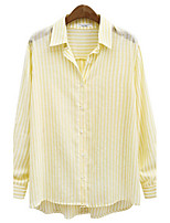 Women's Going out Work Simple Sophisticated All Seasons Shirt,Striped Shirt Collar Long Sleeves Rayon