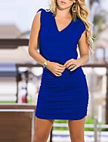 Damen Bodycon Kleid-Lässig/Alltäglich Klub Sexy Street Schick Solide V-Ausschnitt Mini Ärmellos Polyester Sommer Herbst Mittlere Hüfthöhe