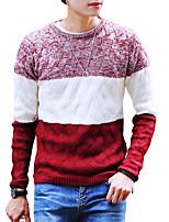 Standard Pullover Da uomo-Per uscire Casual Semplice Monocolore Rotonda Manica lunga Poliestere Primavera Autunno Medio spessore Media