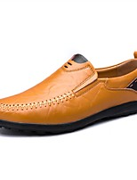 Men's Shoes Leatherette Spring Fall Comfort Loafers & Slip-Ons Split Joint For Casual Brown Yellow Black