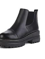 Для женщин Обувь Полиуретан Осень Зима Армейские ботинки Ботинки На толстом каблуке Круглый носок Назначение Повседневные Для праздника