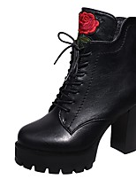 Women's Shoes PU Fall Winter Combat Boots Boots Chunky Heel Round Toe Lace-up For Casual Party & Evening Black