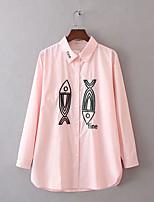 Для женщин На выход На каждый день Весна Осень Рубашка Рубашечный воротник,Секси Простое Уличный стиль Однотонный С принтом Длинный рукав,