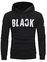 Men's Casual/Daily Hoodie Solid Letter Hooded Micro-elastic Cotton Long Sleeve Fall Winter