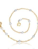 Femme Bracelet de cheville/Bracelet Plaqué Or Rose Mode Personnalisé Forme Ronde Balle Bijoux Pour Rendez-vous Plage