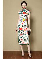 Women's Going out Sheath Dress,Print Stand Midi Short Sleeves Silk Fall Mid Rise Micro-elastic Medium