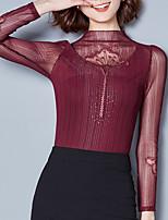 Tee-shirt Femme,Couleur Pleine Sortie Décontracté / Quotidien simple Automne Hiver Manches Longues Mao Polyester Moyen