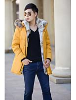 Men's Regular Down Coat,Street chic Plus Size Solid-Lamb Fur Rex Rabbit Fur White Duck Down Long Sleeves