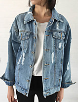 Women's Going out Casual/Daily Simple Street chic Punk & Gothic Fall Winter Denim Jacket,Solid Shirt Collar Long Sleeve Regular Cotton
