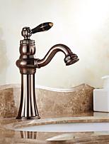 По центру Керамический клапан Одной ручкой одно отверстие for  Начищенная бронза , Ванная раковина кран