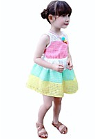 Girl's Birthday Casual/Daily Holiday Striped Rainbow Dress,Cotton Summer Sleeveless