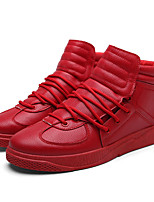 Homme Chaussures Similicuir Automne Confort Basket Lacet Pour Décontracté Blanc Noir Rouge