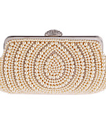 Women Bags All Seasons Polyester Evening Bag Crystal Detailing Pearl Detailing for Wedding Event/Party White Almond