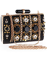 Women Bags All Seasons Polyester Evening Bag Appliques Crystal Detailing Pearl Detailing for Wedding Event/Party Black