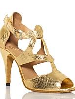 Da donna Balli latino-americani Pelle Sandali Esibizione Con fermaglio di chiusura A stiletto Oro 7,5 - 9,5 cm Personalizzabile