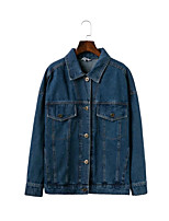 Women's Going out Casual/Daily Simple Spring Fall Denim Jacket,Solid Shirt Collar Long Sleeve Regular Cotton