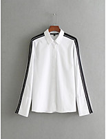 Women's Going out Casual/Daily Sexy Simple Street chic Spring Fall Shirt,Solid Shirt Collar Long Sleeves Cotton Thin Medium