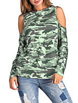 Women's Going out Casual/Daily Sexy Vintage Street chic Spring Fall T-shirt,Camouflage Round Neck Long Sleeves Polyester Medium