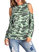 Tee-shirt Femme,camouflage Sortie Décontracté / Quotidien Sexy Vintage Chic de Rue Printemps Automne Manches Longues Col Arrondi Polyester