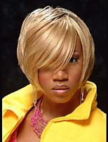 Women Human Hair Capless Wigs Strawberry Blonde/Bleach Blonde Medium Auburn/Bleach Blonde Medium Auburn Black Medium Length Straight Side