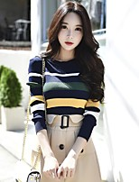 DABUWAWA Women's Going out Casual/Daily Vintage Simple Cute Regular PulloverStriped Color Block Round Neck Long Sleeves Polyester Nylon Spring