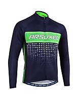 Cycling Jersey Men's Long Sleeves Bike Jersey Reflective Strip Fast Dry Softness Breathability 100% Polyester Patchwork Spring Summer