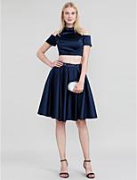 Da principessa Spezzato Collo alto Al ginocchio Raso Cocktail Vestito con Perline Dettagli con cristalli di TS Couture®