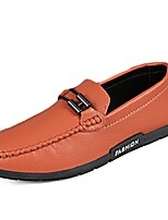 Men's Shoes PU Spring Fall Moccasin Loafers & Slip-Ons For Casual Orange Black White