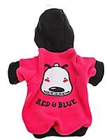 Cane Felpe con cappuccio Abbigliamento per cani Casual Cartoni animati Nero Fucsia Rosso Verde Blu