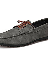 Men's Shoes PU Spring Fall Moccasin Comfort Loafers & Slip-Ons Ruched Lace-up For Casual Brown Gray Black