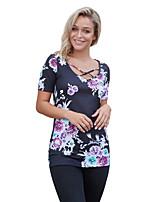 Tee-shirt Femme,Fleur Vacances Sortie Mignon Eté Manches Courtes Col Arrondi Polyester Spandex Moyen