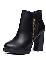 Damen Schuhe Kunstleder Herbst Winter Modische Stiefel Stiefel Blockabsatz Runde Zehe Booties / Stiefeletten Schnalle Für Normal Kleid