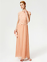 Sheath / Column Jewel Neck Ankle Length Chiffon Lace Mother of the Bride Dress with Beading Lace by LAN TING BRIDE®