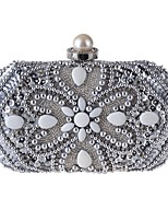 Women Bags All Seasons Polyester Evening Bag Beading Pearl Detailing Sequins for Event/Party Champagne Silver Beige