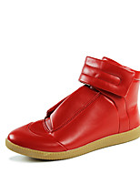 Men's Shoes Leather Fall Winter Comfort Boots Magic Tape For Casual Outdoor Red Black