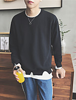 Men's Casual/Daily Sweatshirt Solid Round Neck Micro-elastic Cotton Long Sleeve Fall Winter