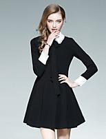 Linea A Vestito Da donna-Per uscire Casual Moda città Tinta unita Colletto Al ginocchio Manica lunga Poliestere Autunno A vita alta