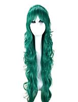 Donna Parrucche sintetiche Senza tappo Lungo Ondulati Verde lucido Con frangia Parrucca Cosplay Parrucca per festa costumi parrucche