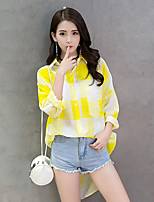 Women's Casual/Daily Simple Shirt,Print Shirt Collar Long Sleeves Polyester
