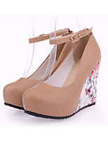Women's Shoes PU Fall Winter Comfort Heels Wedge Heel Stiletto Heel Round Toe Buckle For Wedding Party & Evening Almond Blue Beige Black