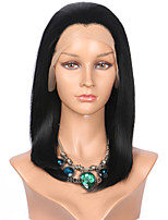 Women Synthetic Wig Lace Front Medium Length Straight Black Bob Haircut Natural Wigs Costume Wig