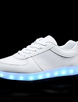 Women's Shoes Leather Spring Summer Light Up Shoes Comfort Sneakers Flat Heel Closed Toe LED Lace-up For Outdoor Black White