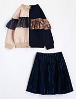 Girls' Color Block Sets,Cotton Fall Long Sleeve Clothing Set